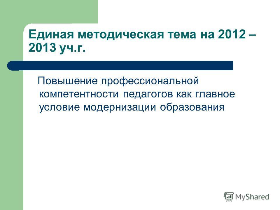Единая методическая тема на 2012 – 2013 уч.г. Повышение профессиональной компетентности педагогов как главное условие модернизации образования