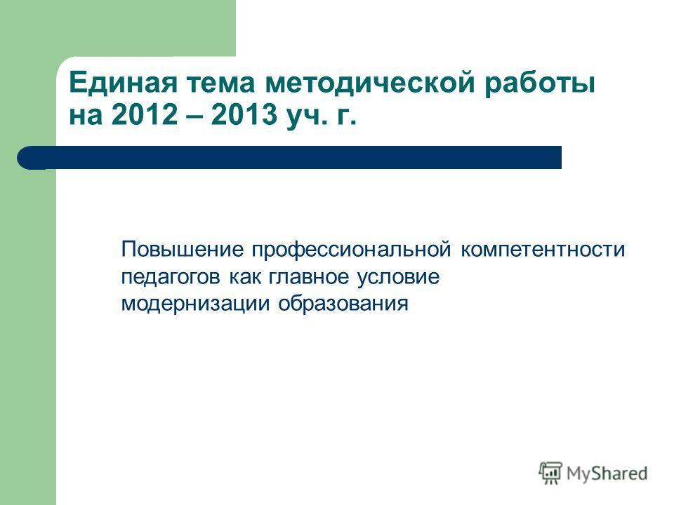 Единая тема методической работы на 2012 – 2013 уч. г. Повышение профессиональной компетентности педагогов как главное условие модернизации образования