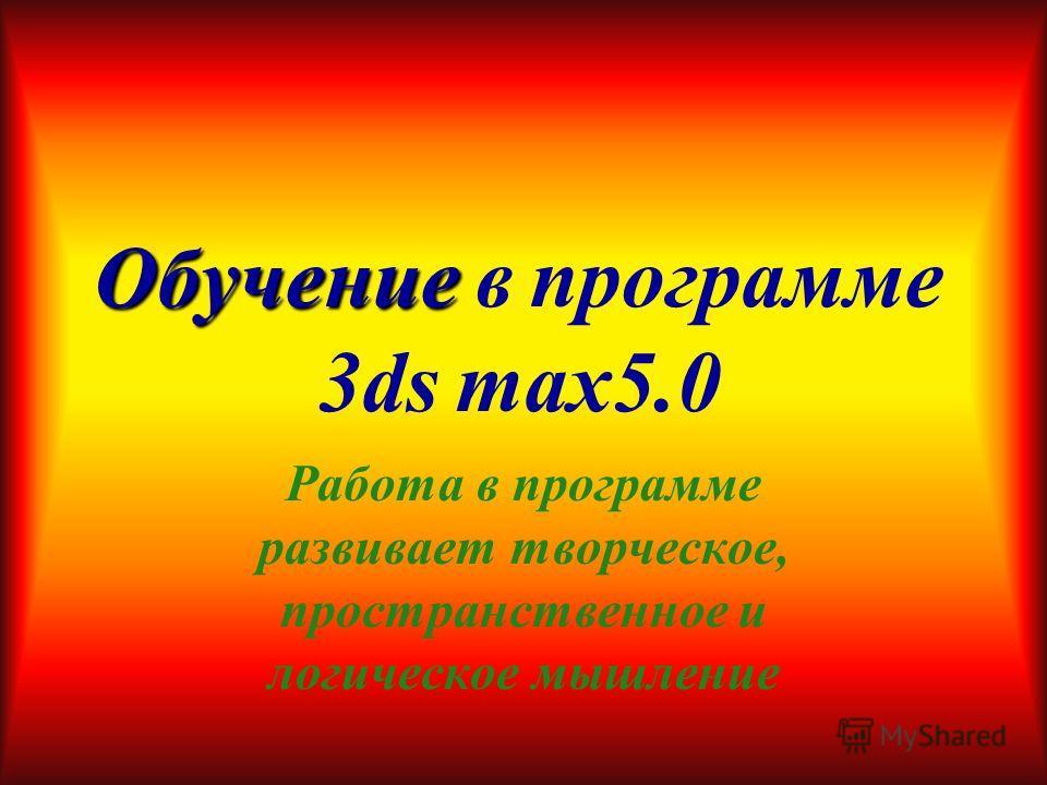 План работы Обучение в программе 3ds max5.0 Первые шаги в 3ds max5.0 Построение простейших фигур Более подробное объяснение по работе в 3ds max5.0 Подготовка к анимации Краткое объяснение по созданию анимации. Анимация в 3ds max5.0 Применение освещен
