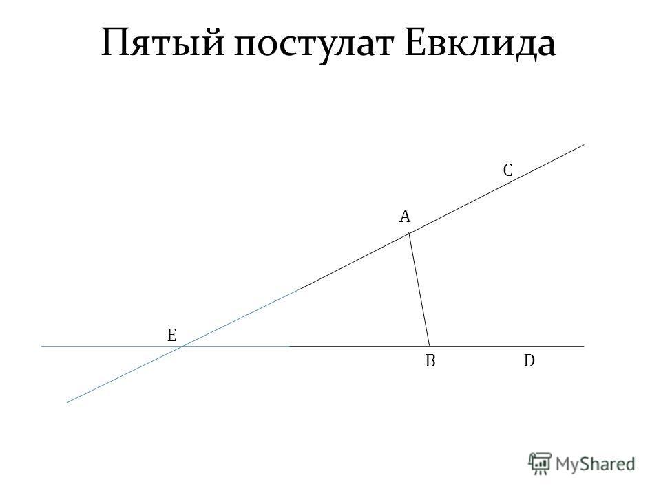 Пятый постулат Евклида A B C D E