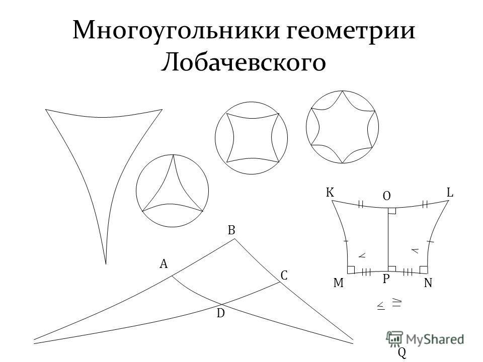 Многоугольники геометрии Лобачевского A B C D KL MN O P Q