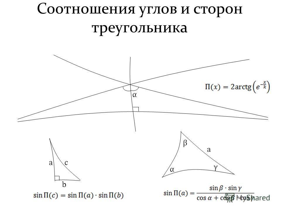 Соотношения углов и сторон треугольника α a b c α β γ a