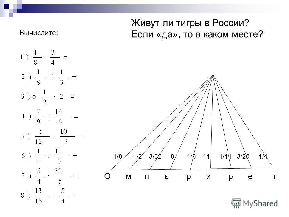 Живут ли тигры в России? Если «да», то в каком месте? 1/8 1/2 3/32 8 1/6 11 1/11 3/20 1/4 О м п ь р и р е т Вычислите: