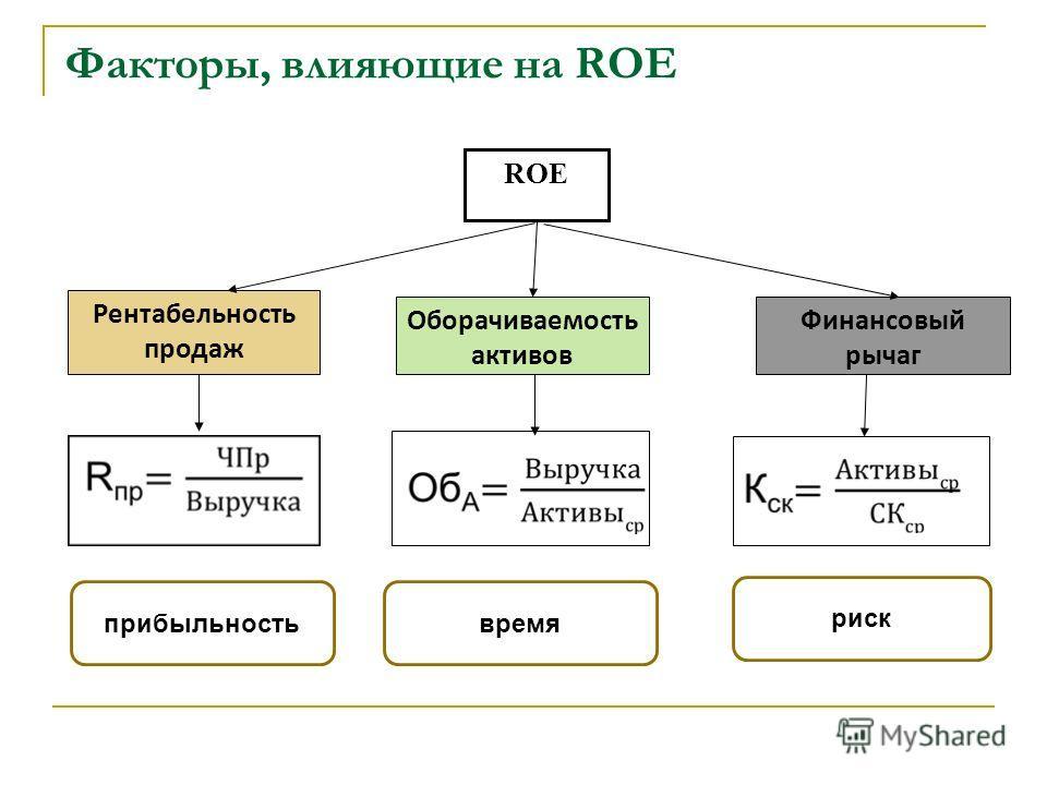 Факторы, влияющие на ROE ROE Рентабельность продаж Оборачиваемость активов Финансовый рычаг прибыльностьвремя риск