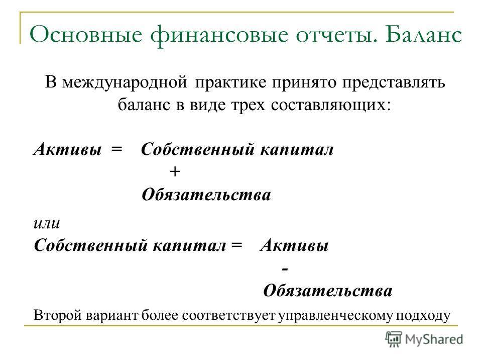 Основные финансовые отчеты. Баланс В международной практике принято представлять баланс в виде трех составляющих: Активы = Собственный капитал + Обязательства или Собственный капитал = Активы - Обязательства Второй вариант более соответствует управле
