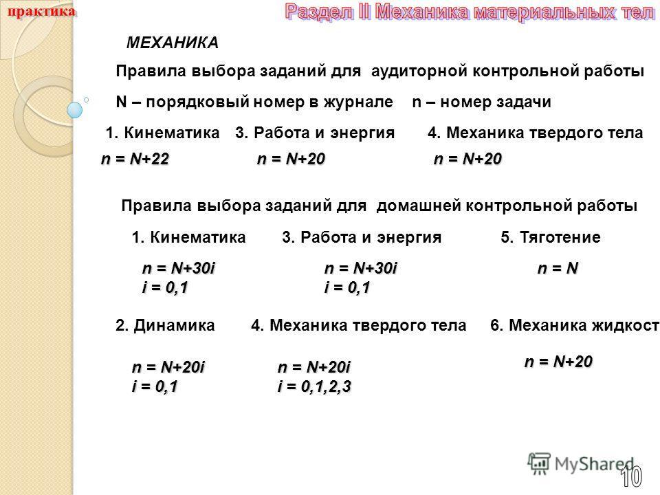 ; ; МЕХАНИКА Правила выбора заданий для аудиторной контрольной работы n = N+22 n – номер задачи 3. Работа и энергия n = N+20 4. Механика твердого тела n = N+20 1. Кинематика Правила выбора заданий для домашней контрольной работы 3. Работа и энергия n