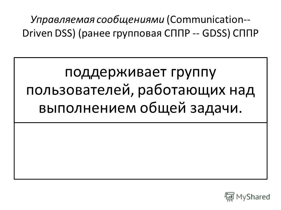 Управляемая сообщениями (Communication-- Driven DSS) (ранее групповая СППР -- GDSS) СППР поддерживает группу пользователей, работающих над выполнением общей задачи.