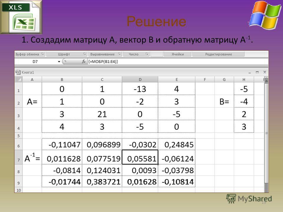Решение 1. Создадим матрицу A, вектор В и обратную матрицу А -1. 19