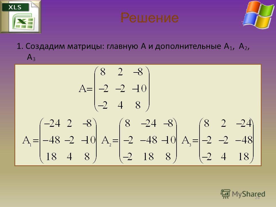 1. Создадим матрицы: главную A и дополнительные A 1, A 2, A 3 Решение 24