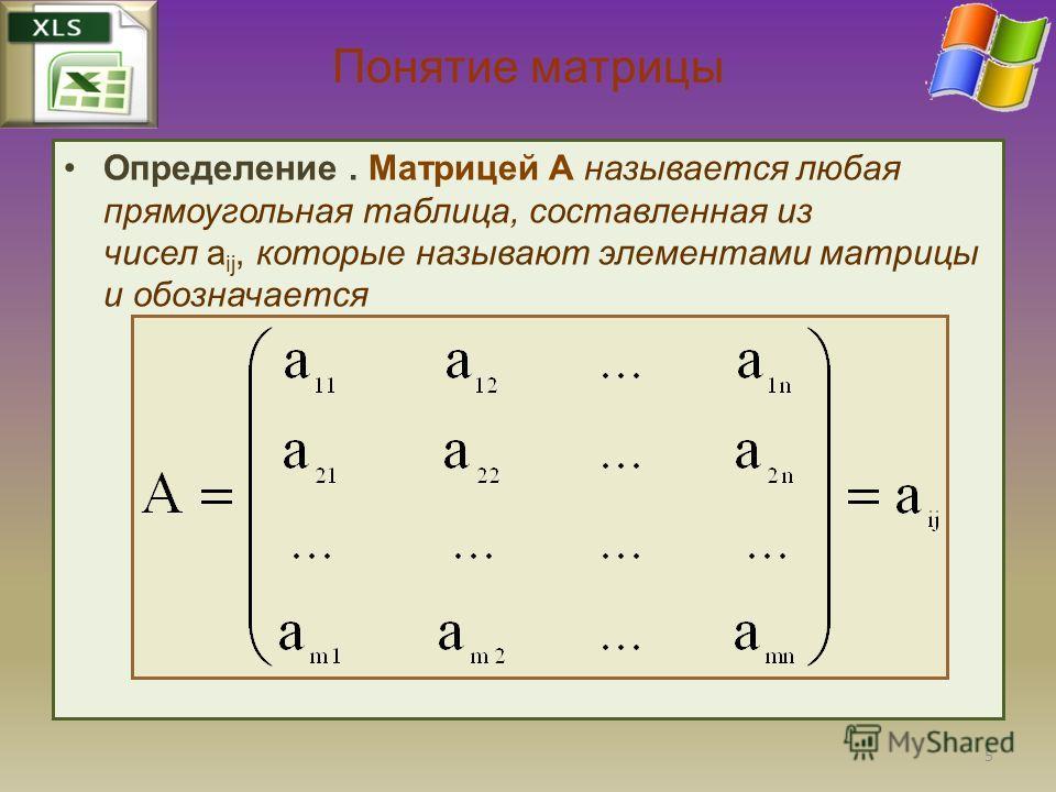 Понятие матрицы Определение. Матрицей A называется любая прямоугольная таблица, составленная из чисел a ij, которые называют элементами матрицы и обозначается 5