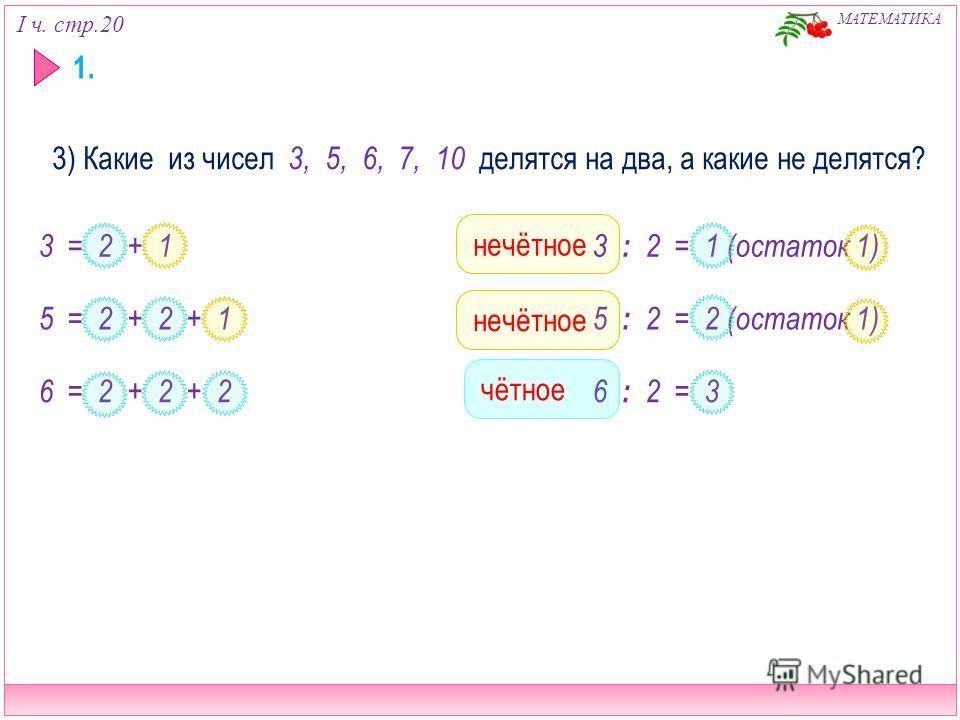 I ч. стр.20 МАТЕМАТИКА 1. 3) Какие из чисел 3, 5, 6, 7, 10 делятся на два, а какие не делятся? 3 = 2 + 1 5 = 2 + 2 + 1 6 = 2 + 2 + 2 нечётное 3 : 2 = 1 (остаток 1) 5 : 2 = 2 (остаток 1) 6 : 2 = 3 нечётное чётное