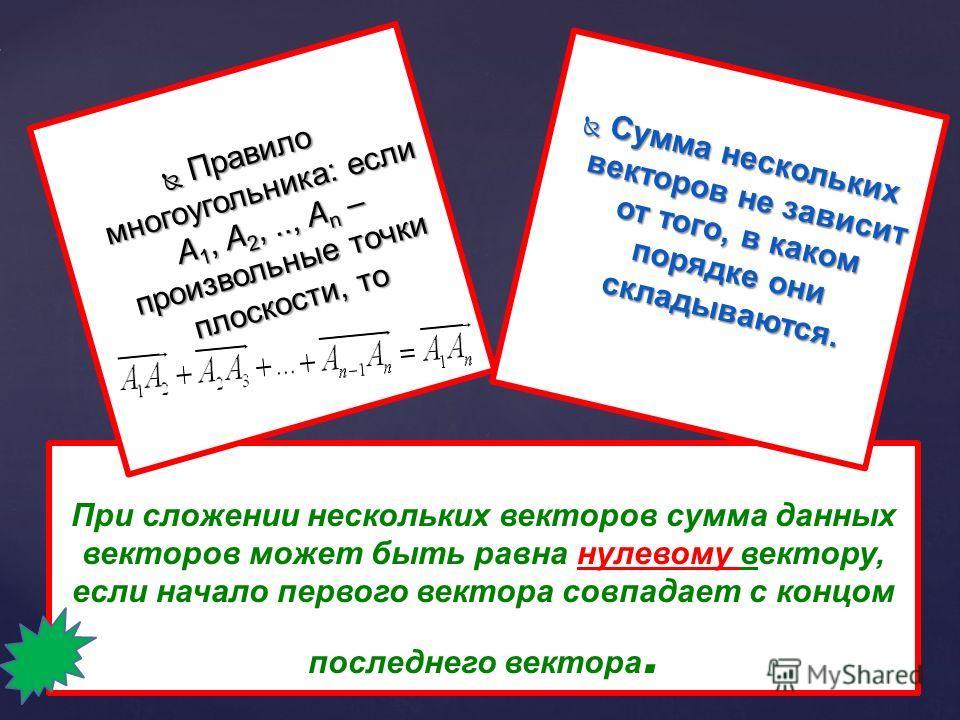 Сумма нескольких векторов Сумма нескольких векторов a b с dO