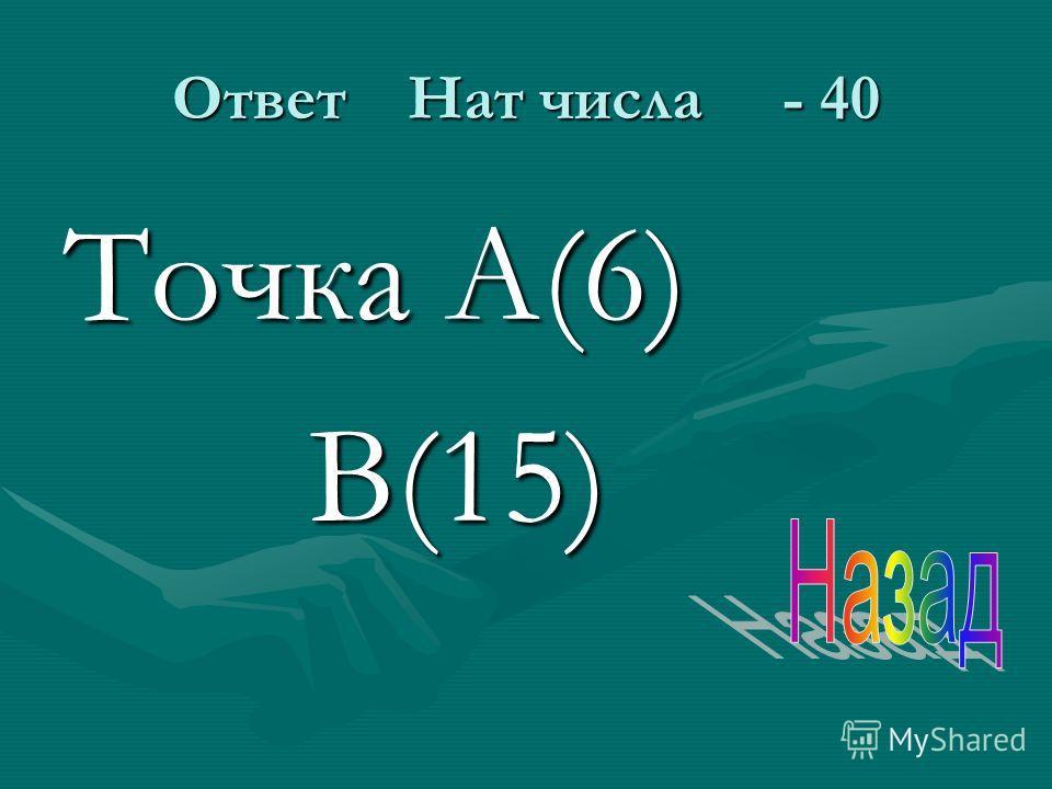 Ответ Нат числа - 40 Точка А(6) В(15) В(15)