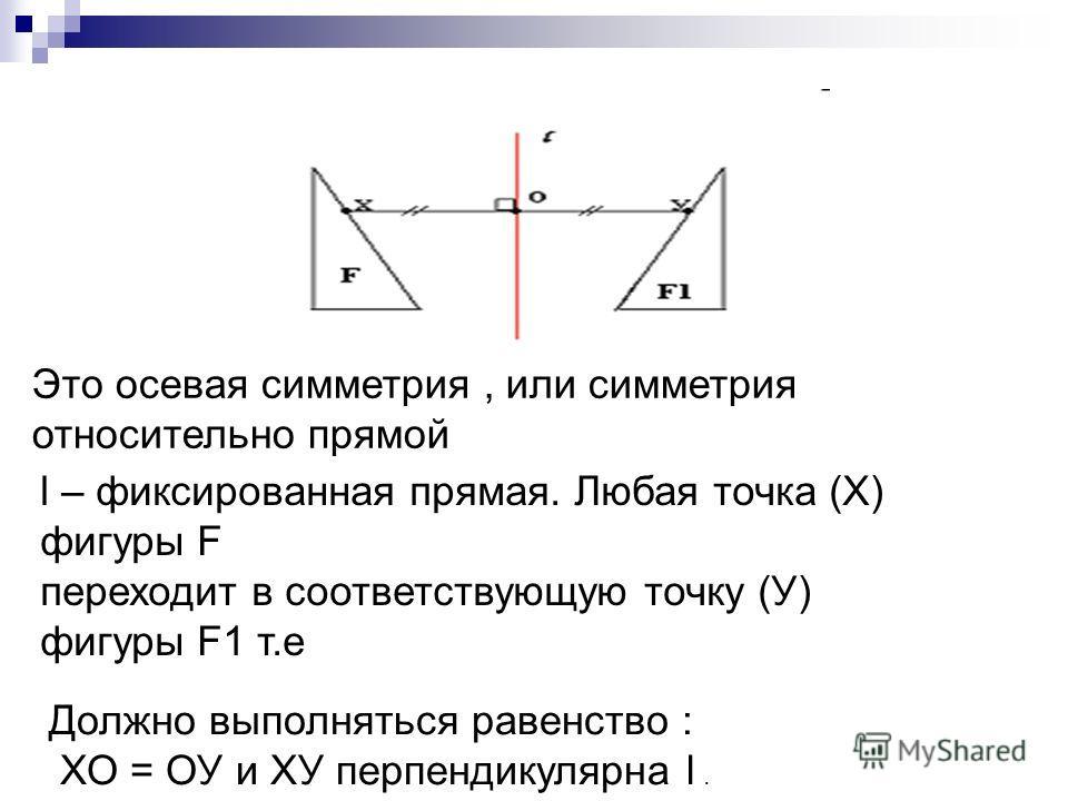 Это осевая симметрия, или симметрия относительно прямой l – фиксированная прямая. Любая точка (Х) фигуры F переходит в соответствующую точку (У) фигуры F1 т.е Должно выполняться равенство : ХО = ОУ и ХУ перпендикулярна l.