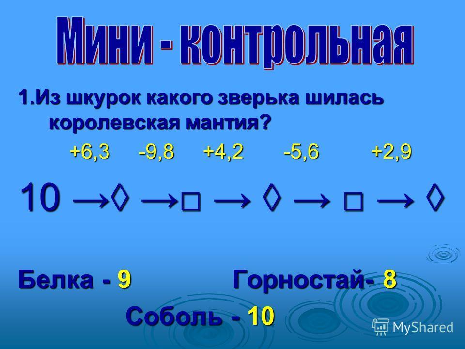 1. Из шкурок какого зверька шилась королевская мантия? +6,3 -9,8 +4,2 -5,6 +2,9 +6,3 -9,8 +4,2 -5,6 +2,9 10 10 Белка - 9 Горностай- 8 Соболь - 10 Соболь - 10