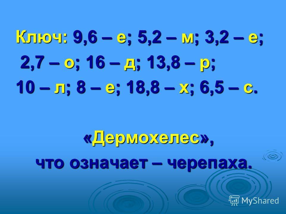 Ключ: 9,6 – е; 5,2 – м; 3,2 – е; 2,7 – о; 16 – д; 13,8 – р; 2,7 – о; 16 – д; 13,8 – р; 10 – л; 8 – е; 18,8 – х; 6,5 – с. «Дермохелес», «Дермохелес», что означает – черепаха. что означает – черепаха.