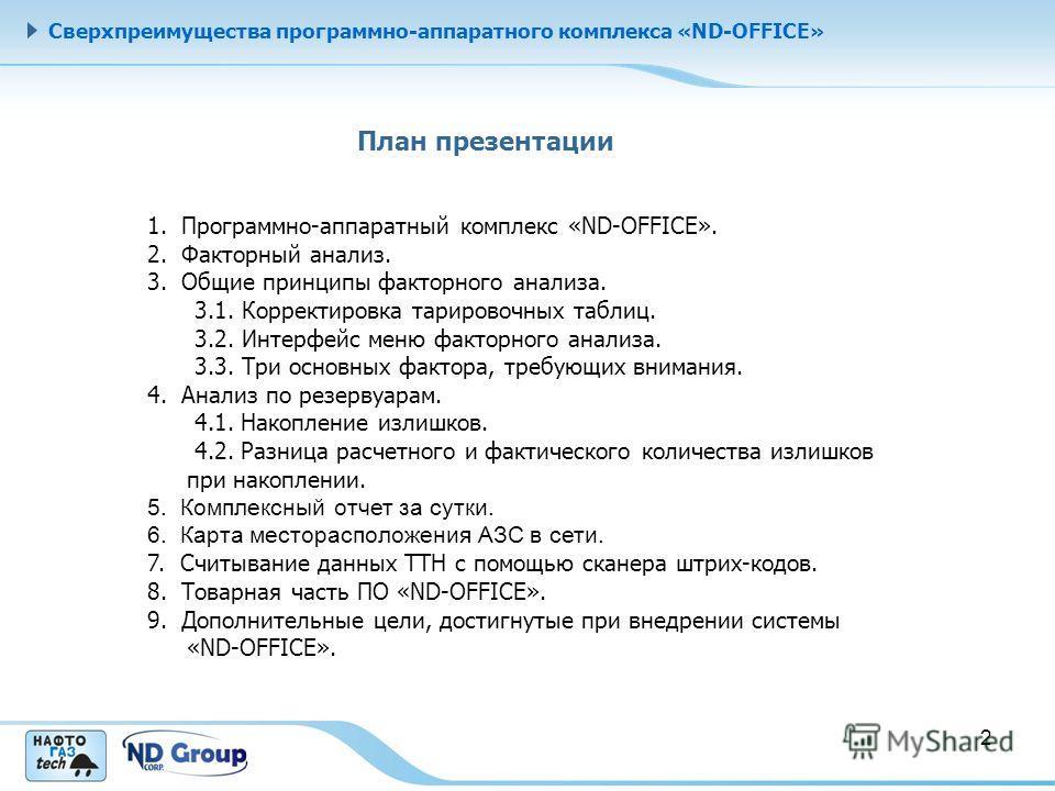 Сверхпреимущества программно-аппаратного комплекса «ND-OFFICE» План презентации 1. Программно-аппаратный комплекс «ND-OFFICE». 2. Факторный анализ. 3. Общие принципы факторного анализа. 3.1. Корректировка тарировочных таблиц. 3.2. Интерфейс меню факт