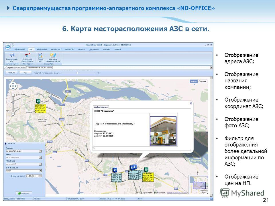 Сверхпреимущества программно-аппаратного комплекса «ND-OFFICE» 6. Карта месторасположения АЗС в сети. Отображение адреса АЗС; Отображение названия компании; Отображение координат АЗС; Отображение фото АЗС; Фильтр для отображения более детальной инфор