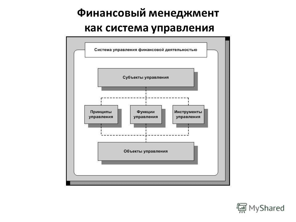 Финансовый менеджмент как система управления