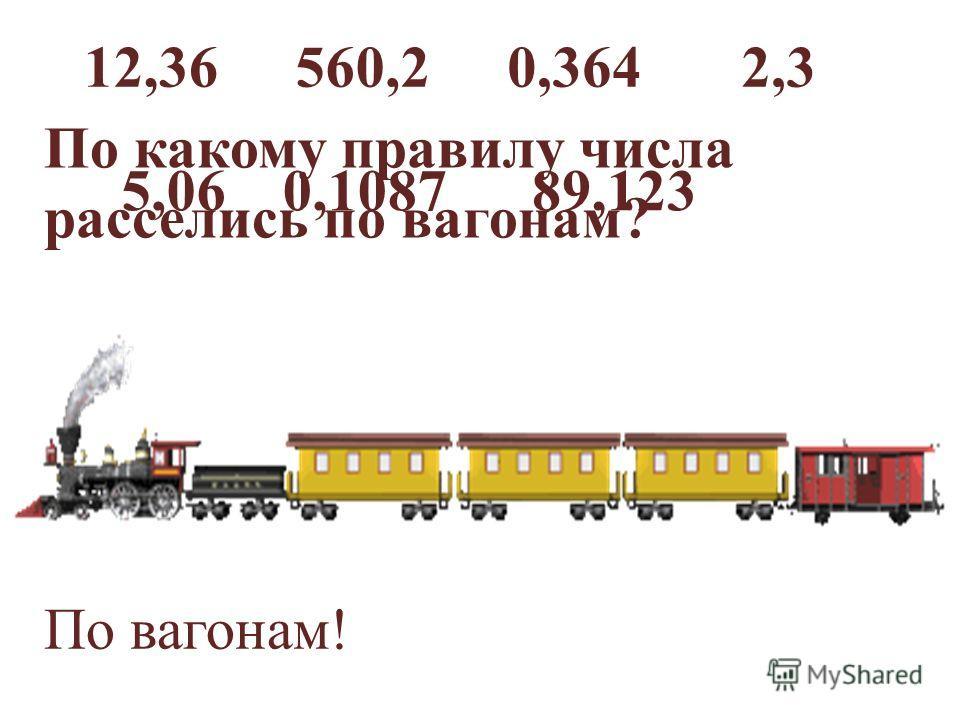 12,36560,20,3642,3 5,060,108789,123 По вагонам! По какому правилу числа расселись по вагонам?