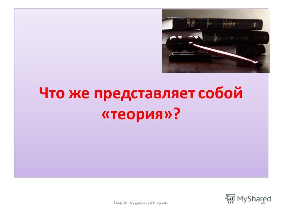 Что же представляет собой «теория»? Теория государства и права 16