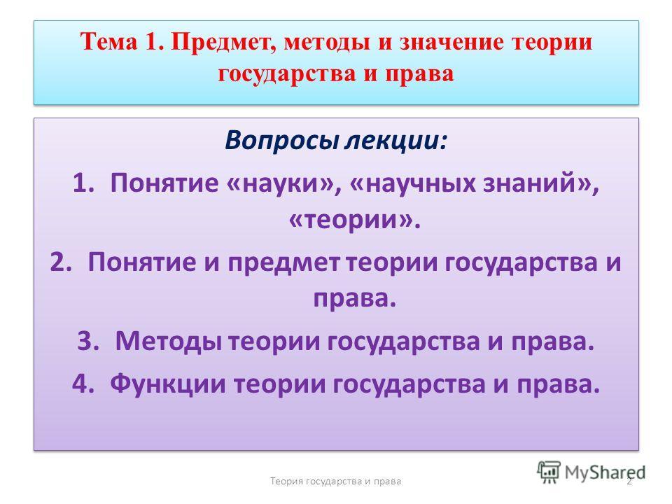 Методы теории государства и