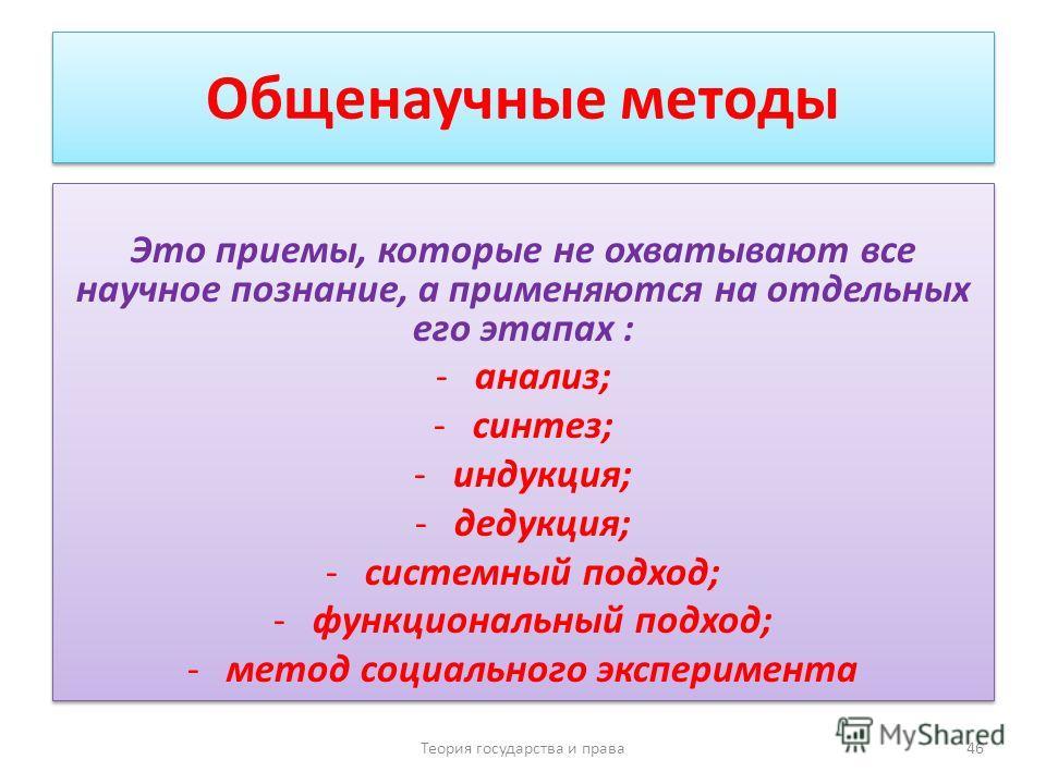 Общенаучные методы Это приемы, которые не охватывают все научное познание, а применяются на отдельных его этапах : -анализ; -синтез; -индукция; -дедукция; -системный подход; -функциональный подход; -метод социального эксперимента Это приемы, которые