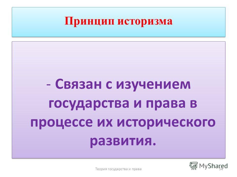 Принцип историзма -Связан с изучением государства и права в процессе их исторического развития. Теория государства и права 54