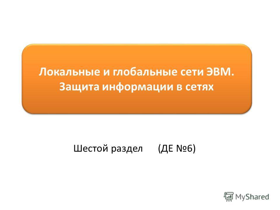 Локальные и глобальные сети ЭВМ. Защита информации в сетях Шестой раздел (ДЕ 6)