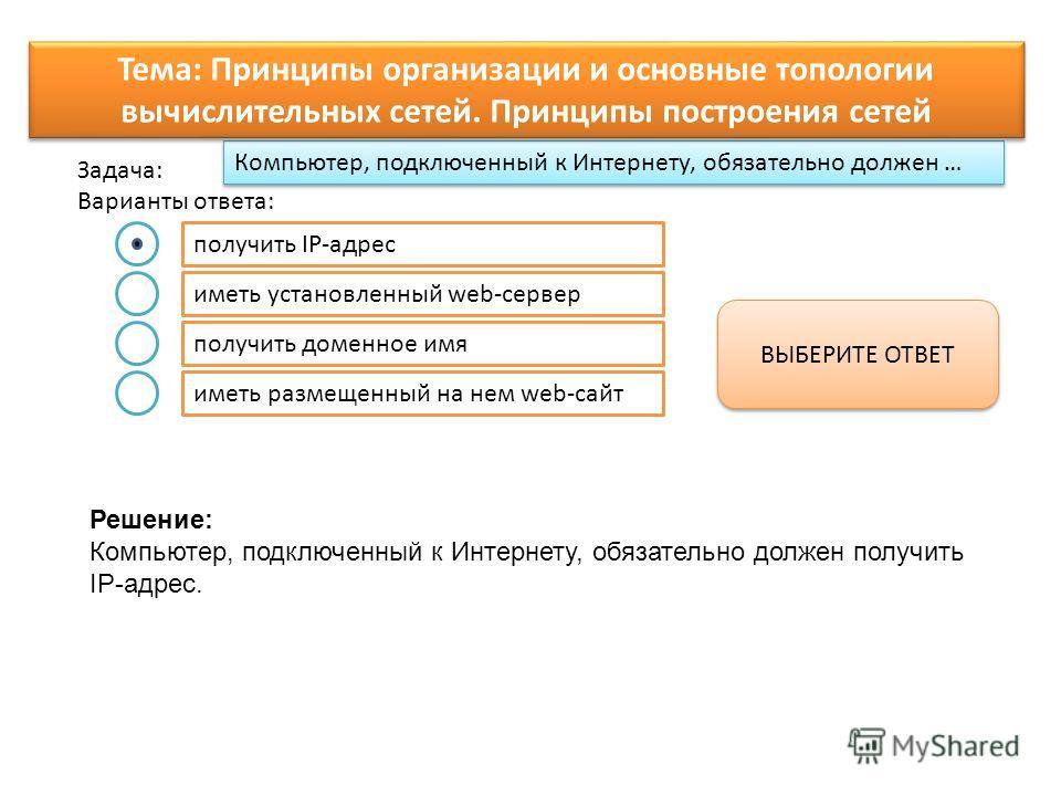 Компьютер, подключенный к Интернету, обязательно должен … Варианты ответа: Задача: получить IP-адрес иметь установленный web-сервер получить доменное имя иметь размещенный на нем web-сайт ВЫБЕРИТЕ ОТВЕТ Тема: Принципы организации и основные топологии