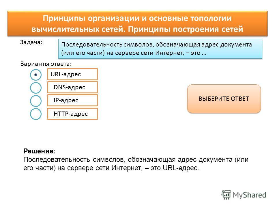 Последовательность символов, обозначающая адрес документа (или его части) на сервере сети Интернет, – это … Варианты ответа: Задача: URL-адрес DNS-адрес IP-адрес HTTP-адрес ВЫБЕРИТЕ ОТВЕТ Принципы организации и основные топологии вычислительных сетей
