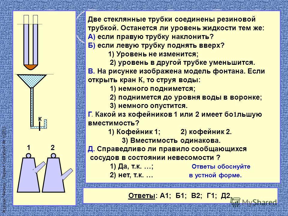 к 1 2 Две стеклянные трубки соединены резиновой трубкой. Останется ли уровень жидкости тем же: А) если правую трубку наклонить? Б) если левую трубку поднять вверх? 1) Уровень не изменится; 2) уровень в другой трубке уменьшится. В. На рисунке изображе