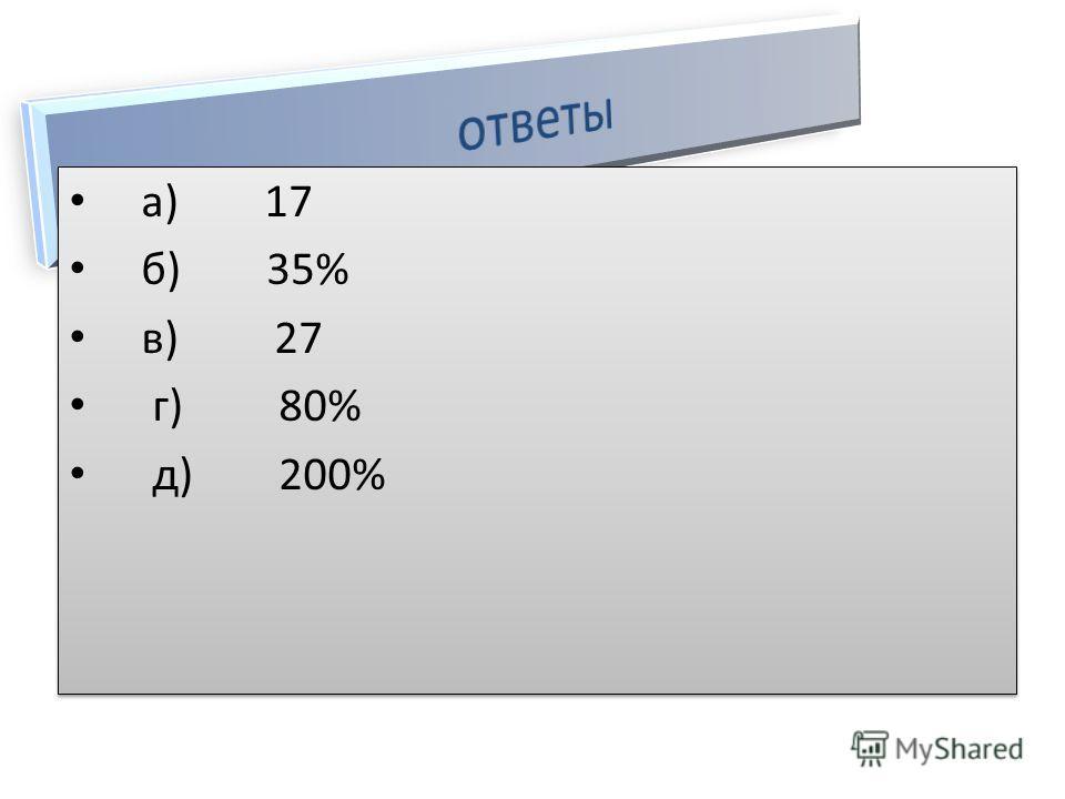 а) 17 б) 35% в) 27 г) 80% д) 200% а) 17 б) 35% в) 27 г) 80% д) 200%