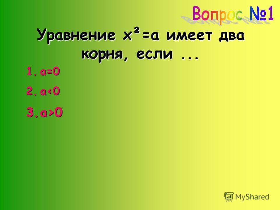 Уравнение x²=a имеет два корня, если... 1.а=0 2.а0
