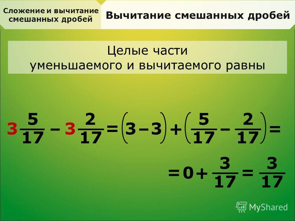 Сложение и вычитание смешанных дробей Вычитание смешанных дробей Целые части уменьшаемого и вычитаемого равны 5 17 3 – 2 3 = 3 –+ 2 3 – 5 = 0 + 3 = = 3
