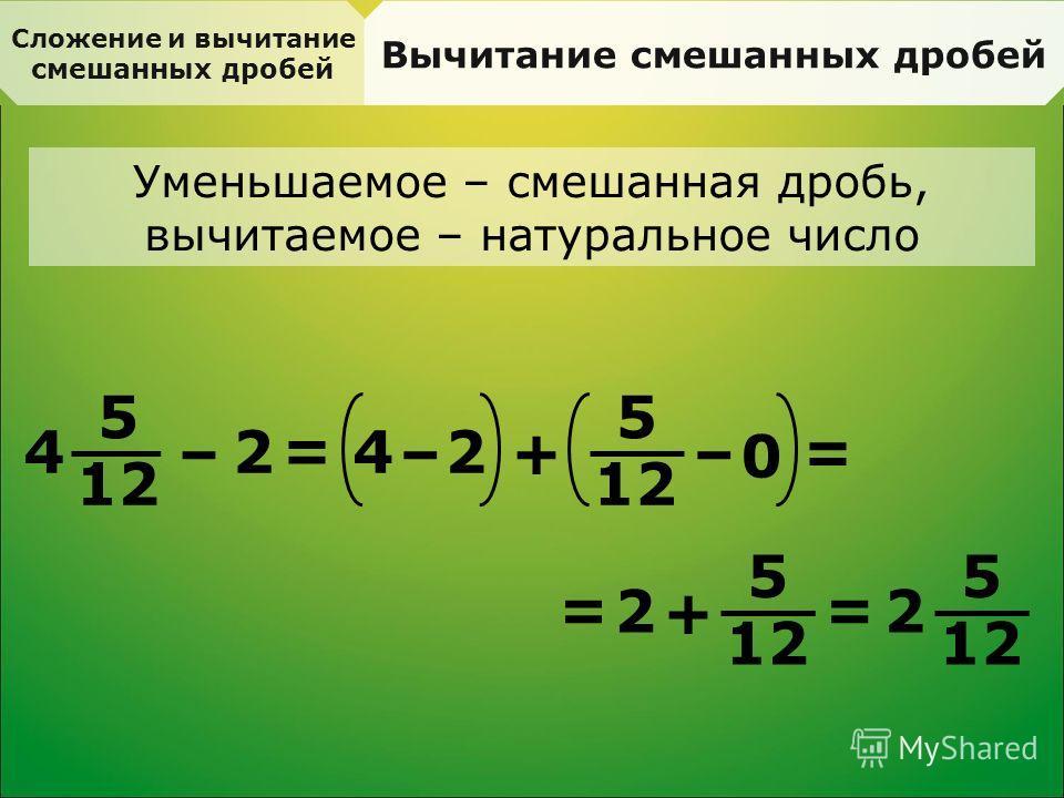 Сложение и вычитание смешанных дробей Вычитание смешанных дробей Уменьшаемое – смешанная дробь, вычитаемое – натуральное число 5 12 4 – 2 = 4 –+ 0 2 – 5 = 2 + 5 = = 5 2
