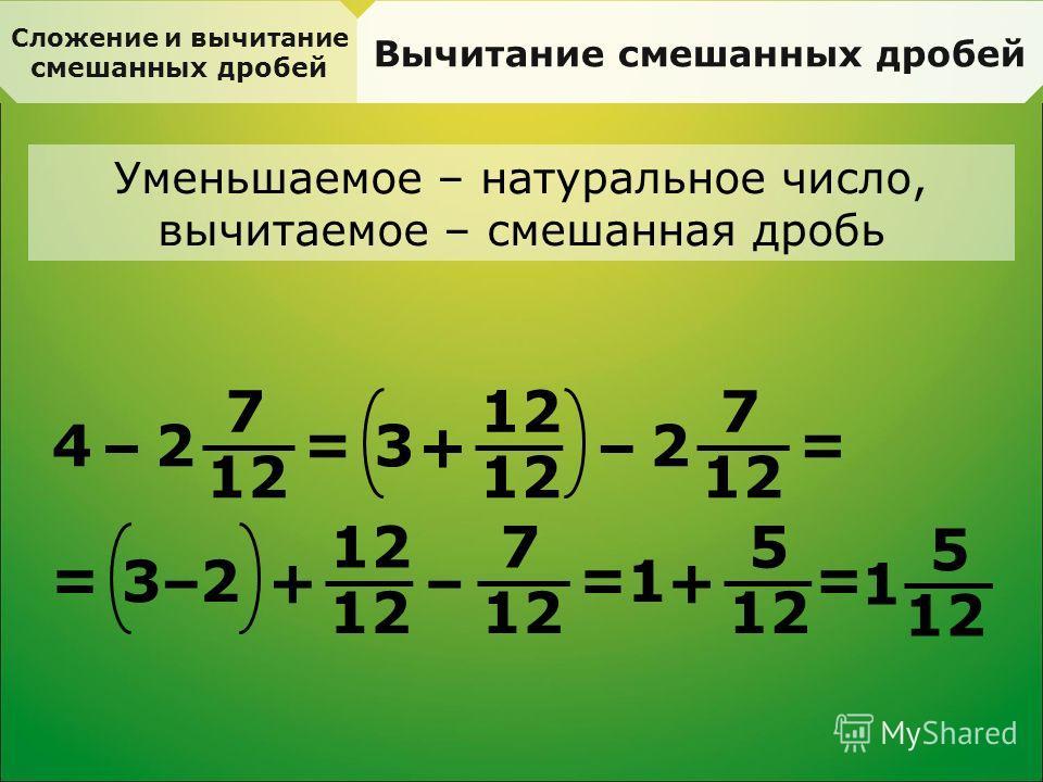 Сложение и вычитание смешанных дробей Вычитание смешанных дробей Уменьшаемое – натуральное число, вычитаемое – смешанная дробь 4 – 7 12 2 = 3 + – 7 2 = = 3 + – 7 2 = – 1 + 5 = 1 5