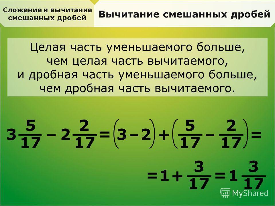 Сложение и вычитание смешанных дробей Вычитание смешанных дробей Целая часть уменьшаемого больше, чем целая часть вычитаемого, и дробная часть уменьшаемого больше, чем дробная часть вычитаемого. 5 17 3 – 2 2 = 3 –+ 2 2 – 5 = 1 + 3 = 1 3 =