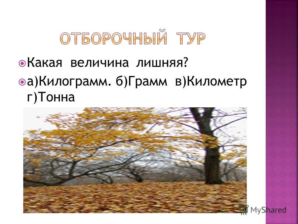 Какая величина лишняя? а)Килограмм. б)Грамм в)Километр г)Тонна