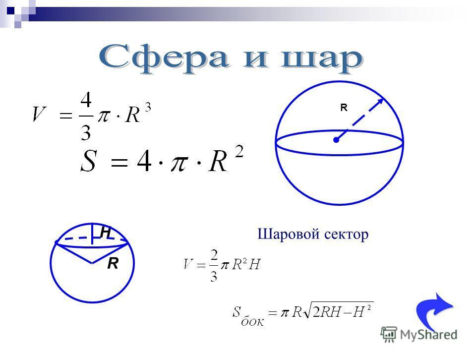 H R R Шаровой сектор