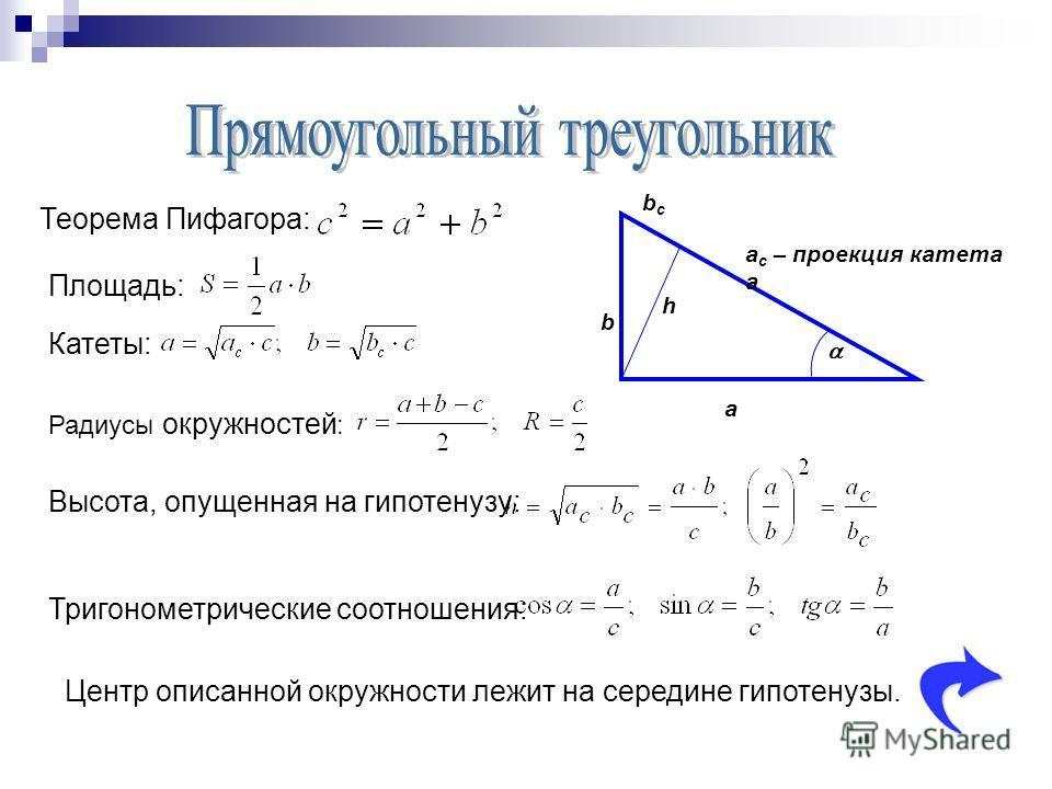 a b a c – проекция катета a bcbc h Теорема Пифагора: Площадь: Тригонометрические соотношения: Центр описанной окружности лежит на середине гипотенузы. Высота, опущенная на гипотенузу: Катеты: Радиусы окружностей :