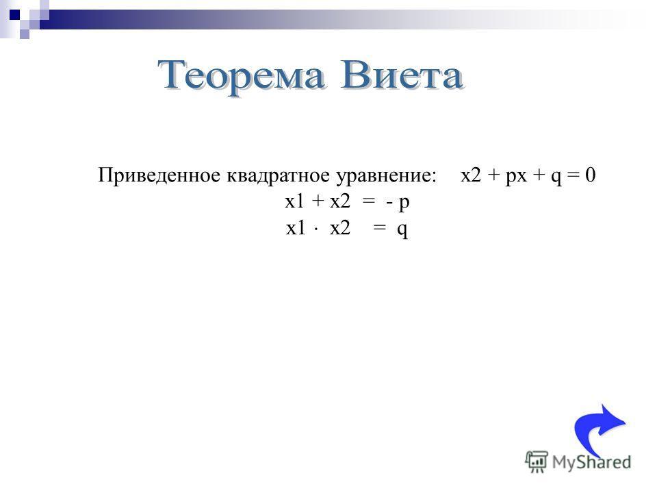 Приведенное квадратное уравнение: x2 + px + q = 0 x1 + x2 = - p x1 x2 = q