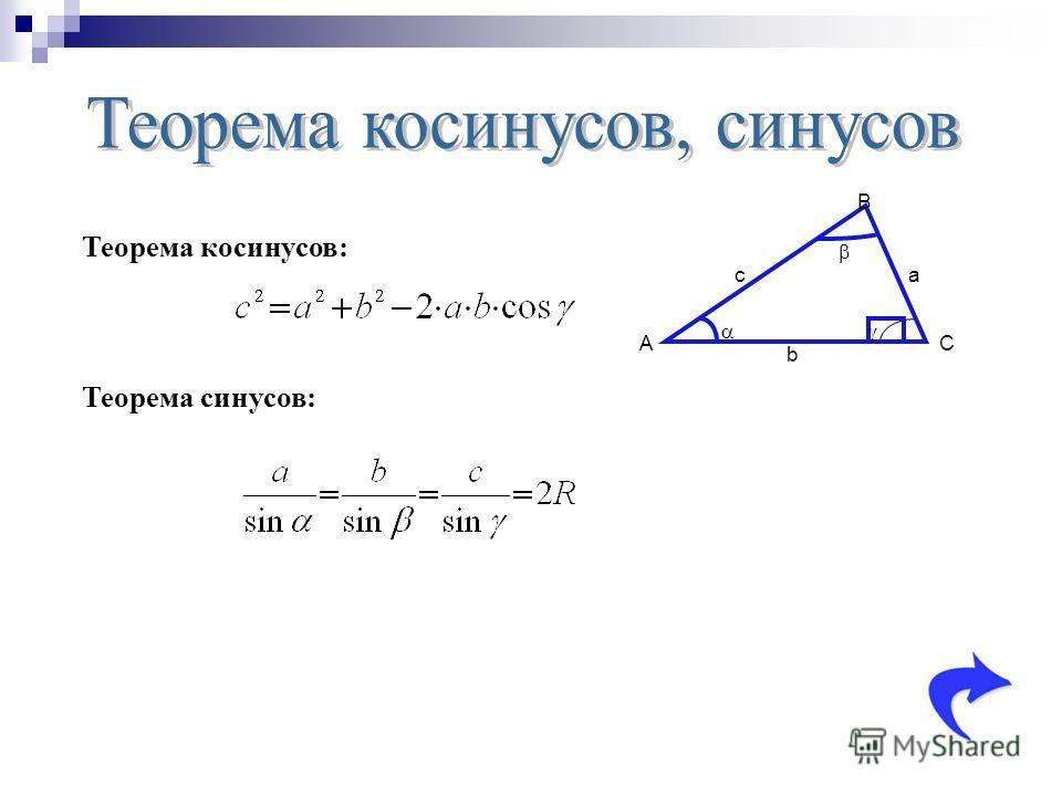 A B C a b c Теорема косинусов: Теорема синусов: