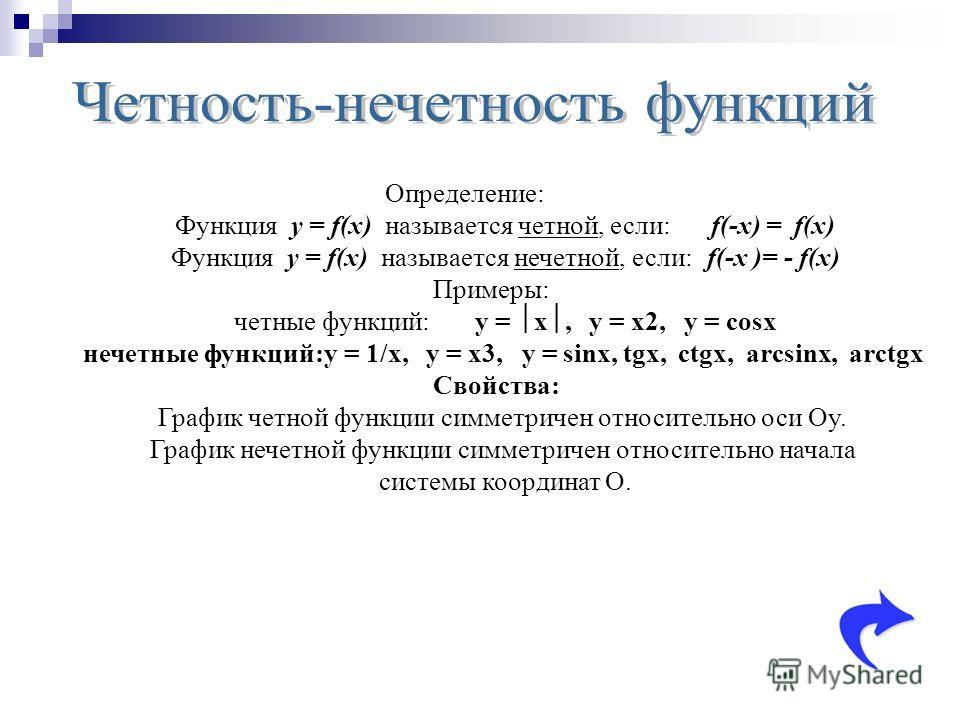 Определение: Функция y = f(x) называется четной, если: f(-x) = f(x) Функция y = f(x) называется нечетной, если: f(-x )= - f(x) Примеры: четные функций:y = x, y = x2, y = cosx нечетные функций:y = 1/x, y = x3, y = sinx, tgx, ctgx, arcsinx, arctgx Свой