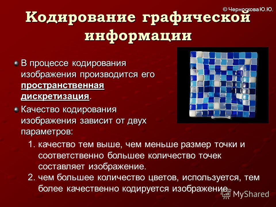 © Черноскова Ю.Ю. Кодирование графической информации В процессе кодирования изображения производится его пространственная дискретизация. Качество кодирования изображения зависит от двух параметров: 1. качество тем выше, чем меньше размер точки и соот