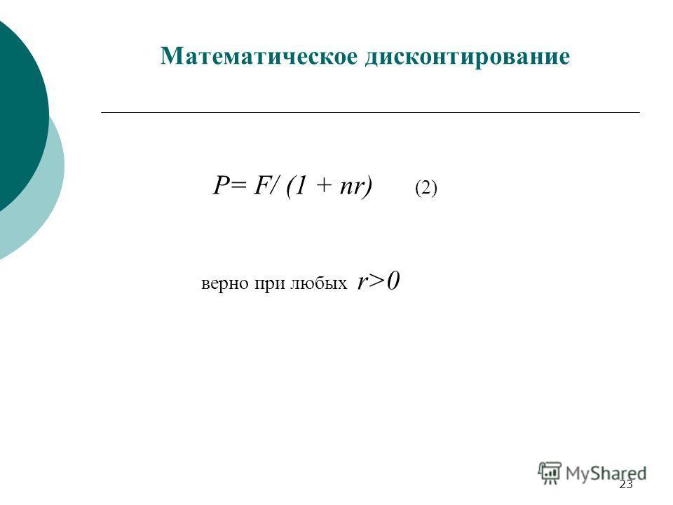 23 Математическое дисконтирование Р= F/ (1 + nr) (2) верно при любых r>0