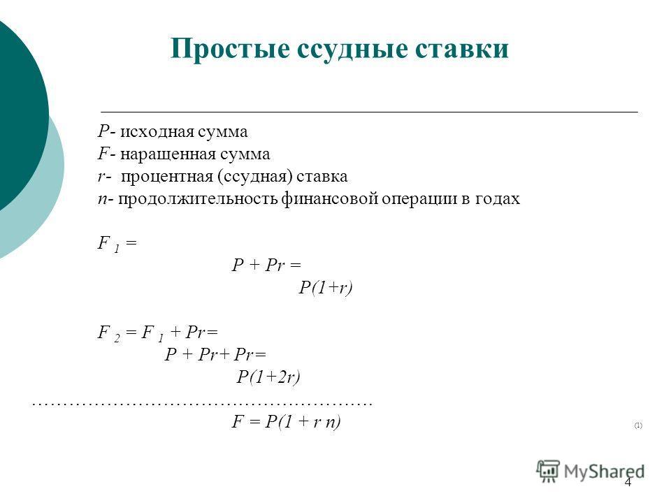 4 Простые ссудные ставки Р- исходная сумма F- наращенная сумма r- процентная (ссудная) ставка n- продолжительность финансовой операции в годах F 1 = P + Pr = P(1+r) F 2 = F 1 + Pr= P + Pr+ Pr= P(1+2r) ………………………………………………. F = P(1 + r n) (1)