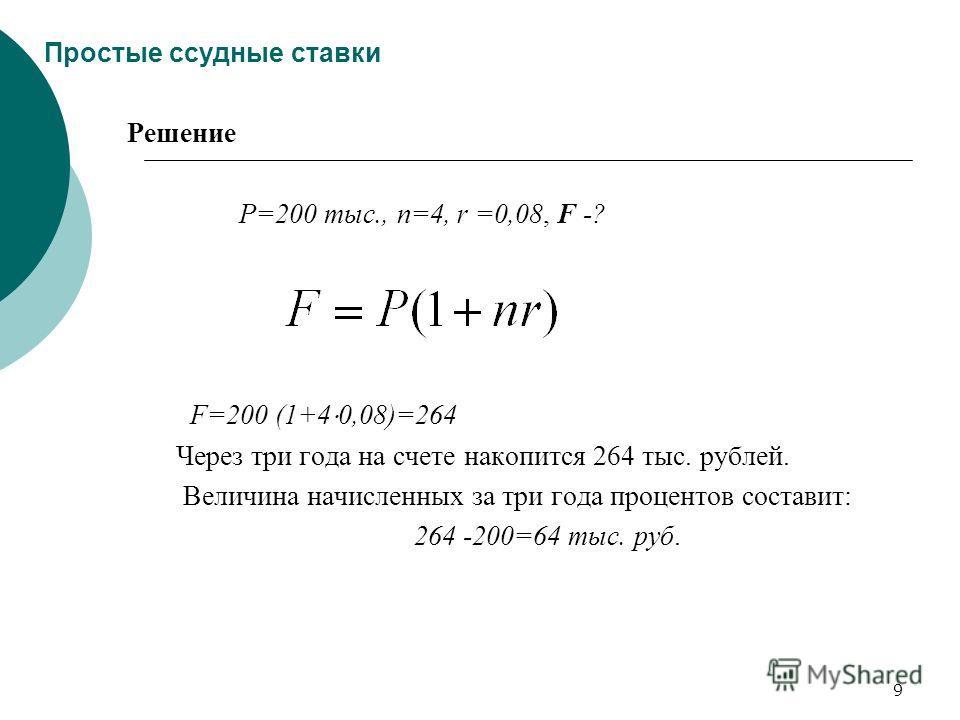 9 Простые ссудные ставки Решение Р=200 тыс., n=4, r =0,08, F -? F=200 (1+4 0,08)=264 Через три года на счете накопится 264 тыс. рублей. Величина начисленных за три года процентов составит: 264 -200=64 тыс. руб.