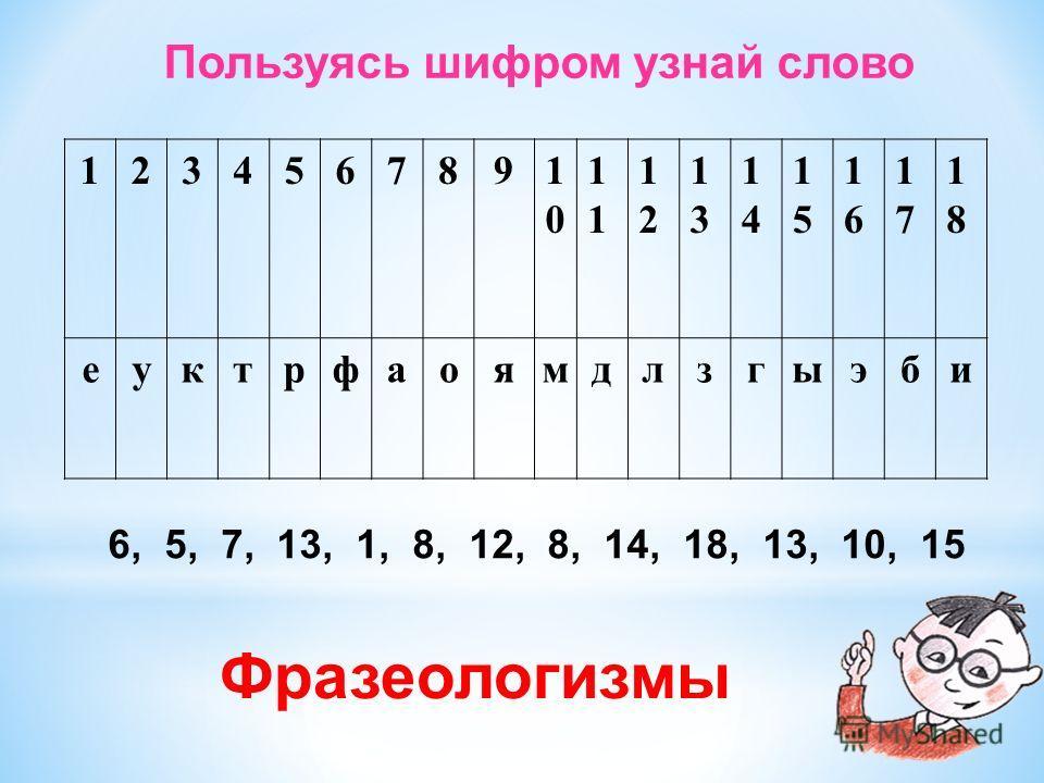 Пользуясь шифром узнай слово 12345678910101 1212 1313 1414 1515 1616 1717 1818 еуктрфаоямдлзгыэби 6, 5, 7, 13, 1, 8, 12, 8, 14, 18, 13, 10, 15 Фразеологизмы