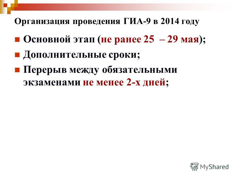 Организация проведения ГИА-9 в 2014 году Основной этап (не ранее 25 – 29 мая); Дополнительные сроки; Перерыв между обязательными экзаменами не менее 2-х дней;